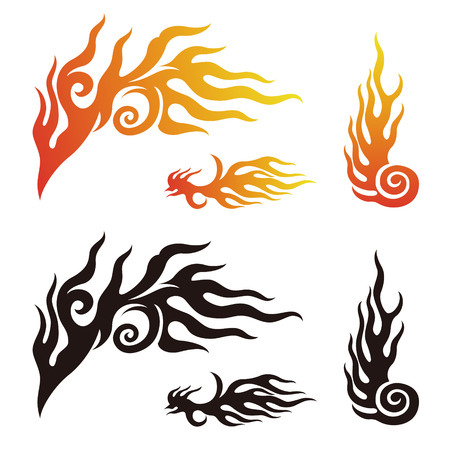 flame: Fire and flame graphic elements in color, black and white