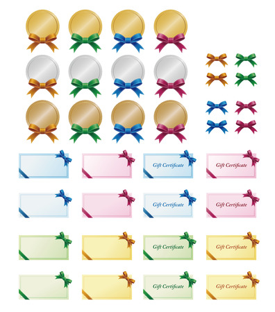 shinny: Gift certificates and medals with ribbon decoration
