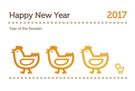 Year of the rooster, New Year card illustration