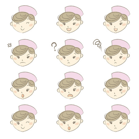 is troubled: Young nurse with nurse cap in different emotions