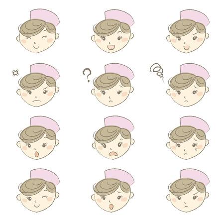 nurse cap: Young nurse with nurse cap in different emotions