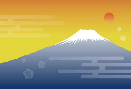 gold capped: Morning sun and Fuji mountain new year illustration