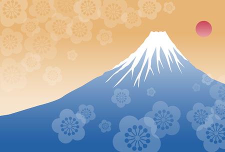 fuji mountain: Morning sun and Fuji mountain new year illustration