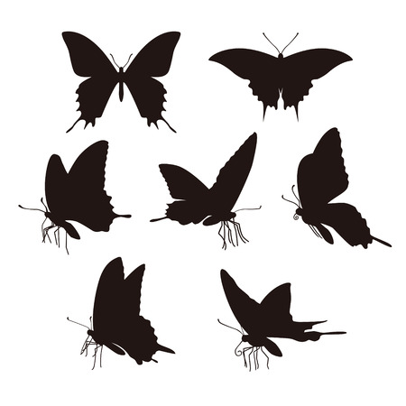 antena: Black swallowtail butterfly silhouets on white background Illustration