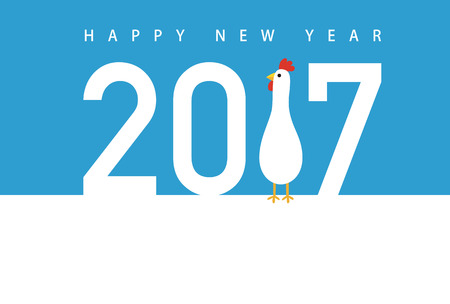 Rooster new year card for year 2017