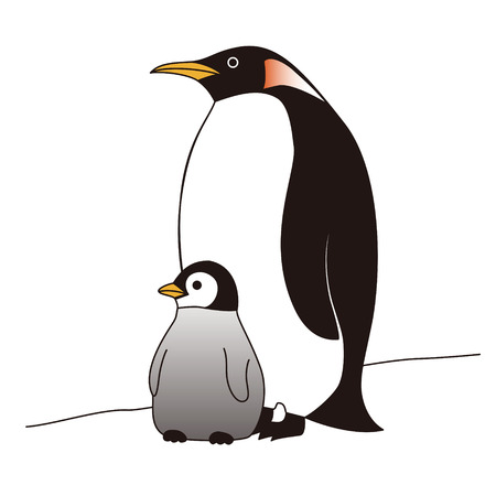 standing together: Mother and baby penguins standing together on ice Illustration