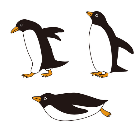 sliding: Three penguins with different poses, walking and sliding Illustration