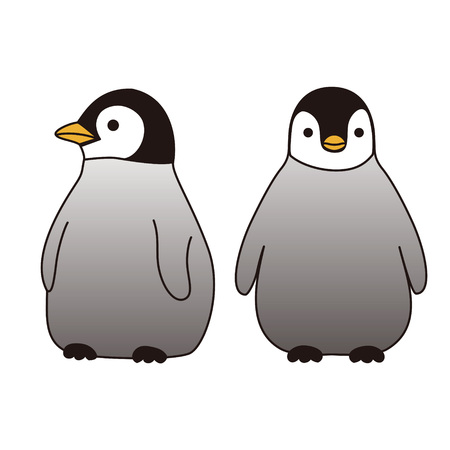 different directions: Two baby penguins standing together looking at different directions Illustration