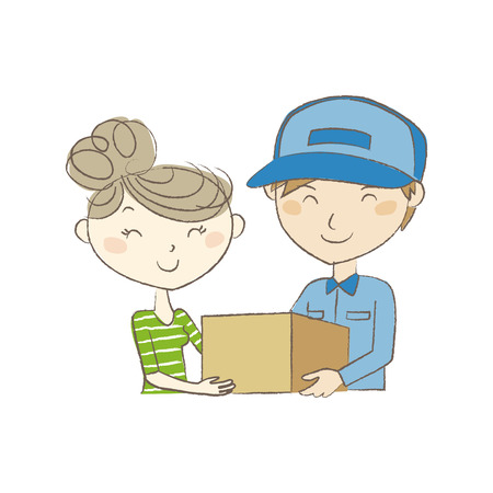 house wife: Delivery man handing a package to young woman