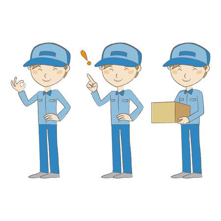 ブルーのポージングと制服で配達人  イラスト・ベクター素材