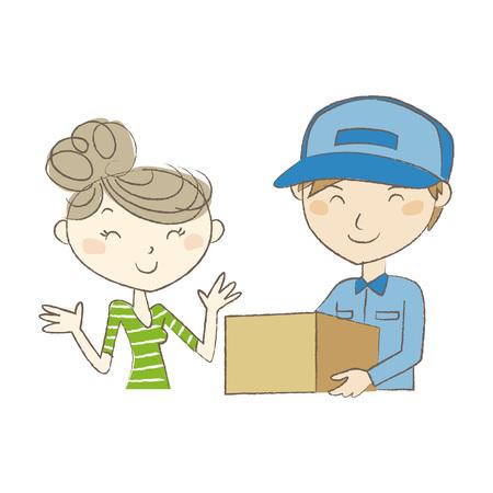 パッケージを若い女性に手渡し配達人  イラスト・ベクター素材