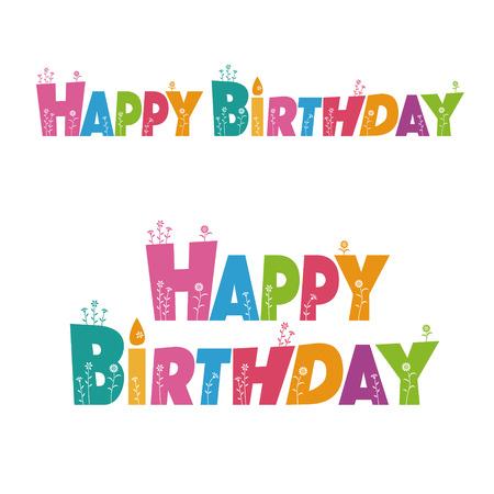 花の装飾とカラフルな幸せな誕生日の手紙  イラスト・ベクター素材