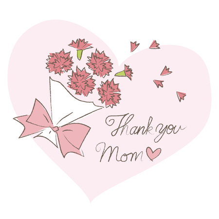 carnations: Mothers day, bouquet of carnations and Thank you message Illustration