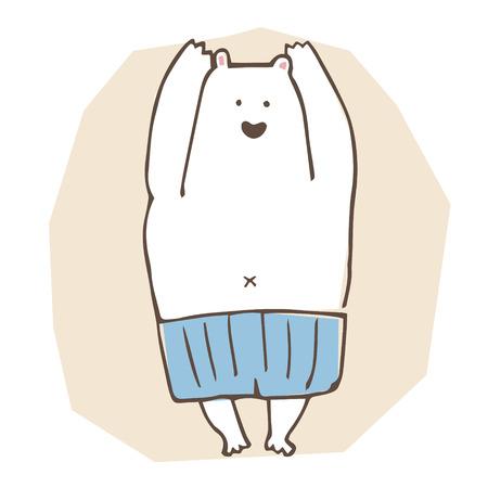 A polar bear wearing blue swim suite