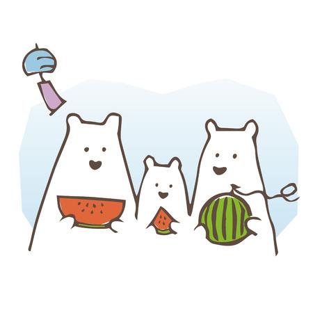 夏にスイカを食べるホッキョクグマの家族