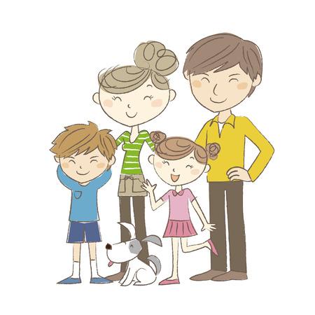 2 世代家族、両親、犬と子供