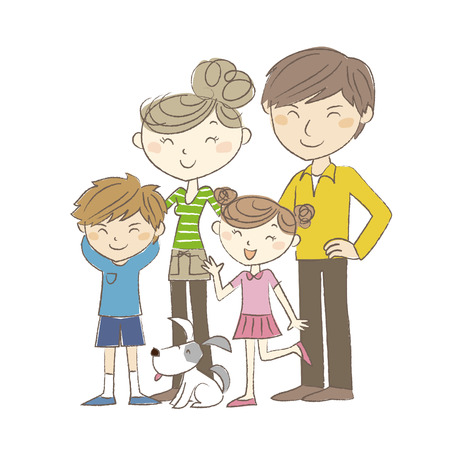 A two generation family, parents and children with dog