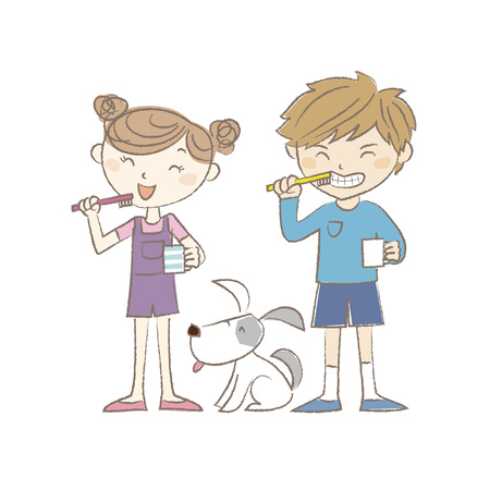 child hair: A boy, a girl and a dog brushing teeth together Illustration
