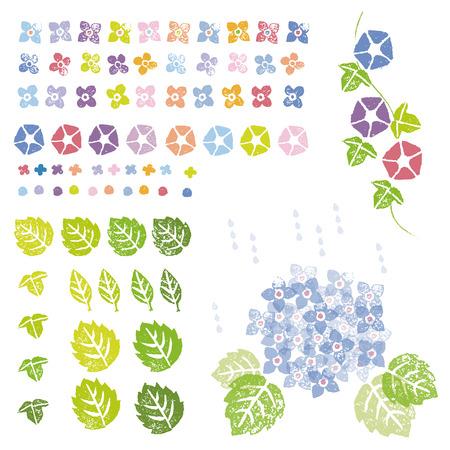 花と葉はスタンプの効果、グラフィック要素