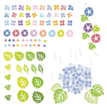 Flowers and leaves in stamp effect, graphic elements