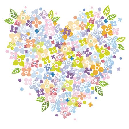 Un ejemplo de la forma del corazón de colores de flores para el Día de San Valentín Ilustración de vector