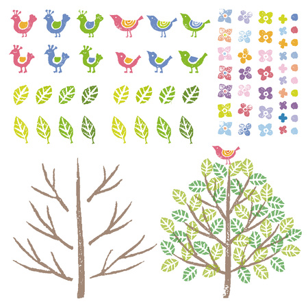 Graphic elements, birds ,flowers and tree