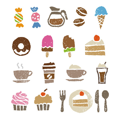 Snoep en cafe elementen, koffie, taart en ijs Stock Illustratie