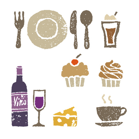 Wine, cheese and sweets, restaurant elements illustration
