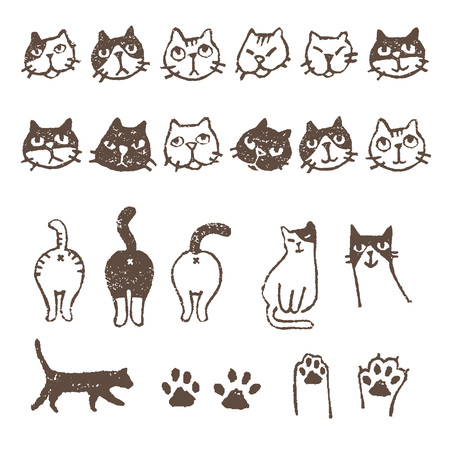 calico whiskers: Various kinds of cats, face, paw, pad and footprint Illustration