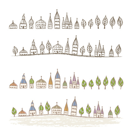 Pointed roofed cute houses standing in a row