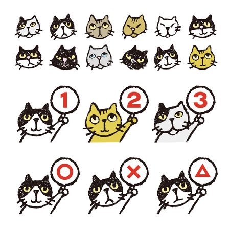 calico: Various kinds of cats, face, ranking, illustration