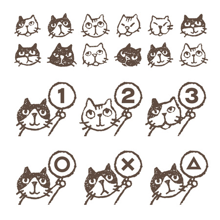 Various kinds of cats, face, ranking, illustration