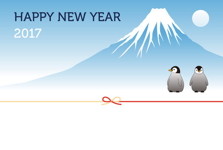 mount fuji: Mount Fuji and penguins New Year card for year 2017