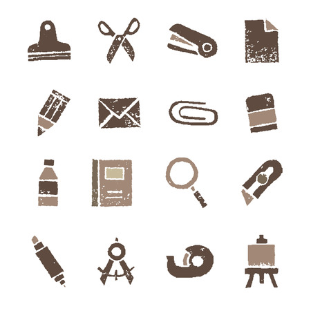 Stationery icon, stamp effect in white background
