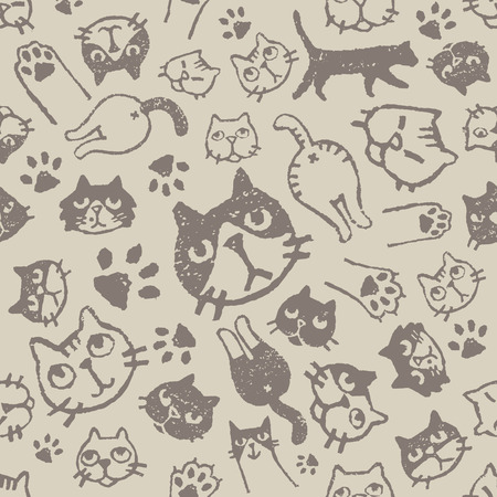Cat pattern with various faces, paws and asses