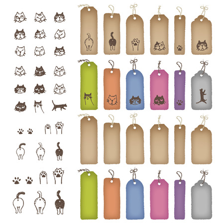calico: Product tags in various shapes and color with cat illustration Illustration