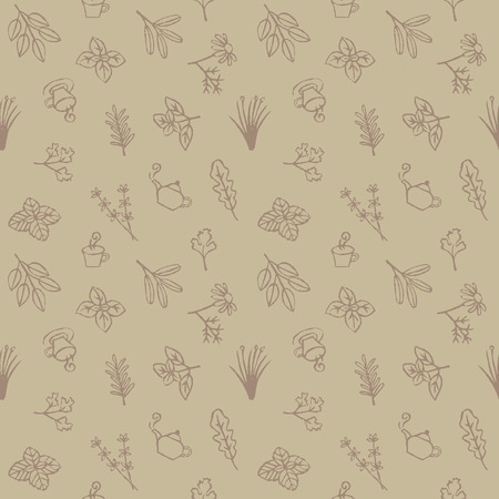 chamomile tea: Herbs, tea cups and pots seamless pattern