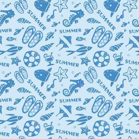 sunfish: Summer, Ocean, beach image seamless pattern on light blue background