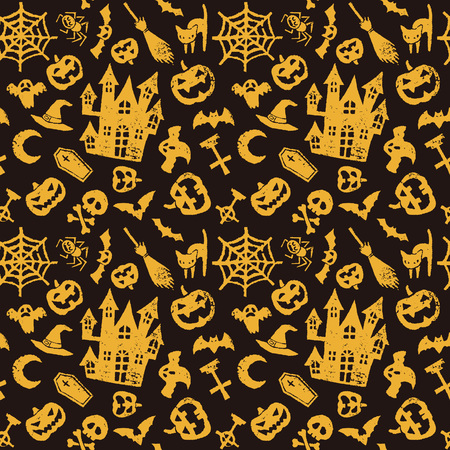 jack o' lantern: Halloween seamless pattern, haunted house, jack o lantern, bat and ghost