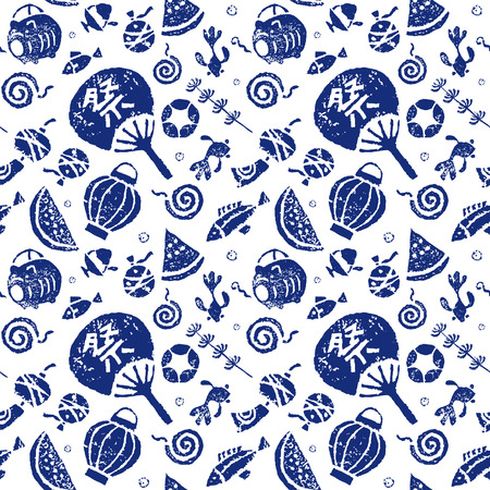 Japanese summer seamless pattern, paper fan, goldfish, watermelon, wind chime and mosquito coil Illustration