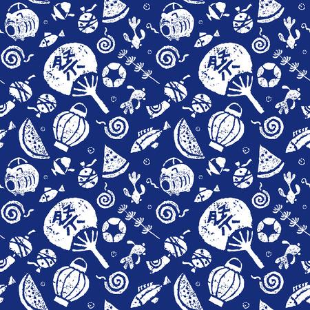 日本語夏のシームレスなパターン、うちわ、金魚、スイカ、風チャイム、モスキート コイル