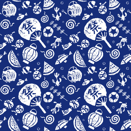 Japanese summer seamless pattern, paper fan, goldfish, watermelon, wind chime and mosquito coil Vettoriali
