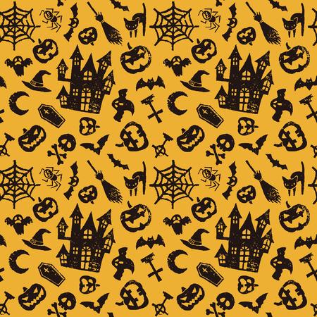 Halloween seamless, maison hantée, cric o lanterne, chauve-souris et le fantôme