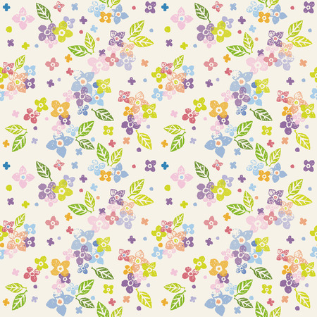 dark pastel green: Colorful floral seamless pattern on cream yellow background