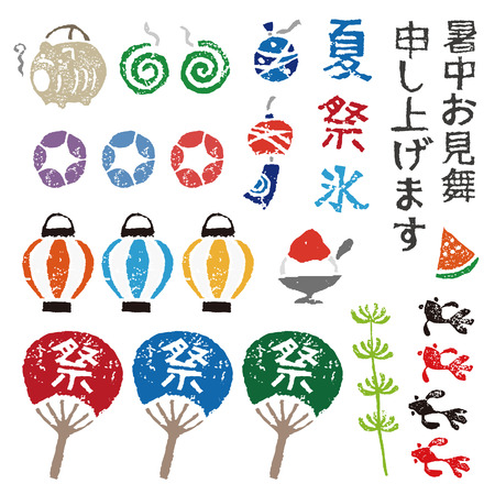 日本の夏の要素、ランタン、金魚、うちわ、風チャイム、モスキート コイル
