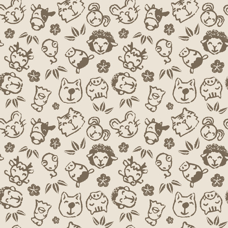 Chinese zodiac animal signs seamless pattern, the twelve horary signs