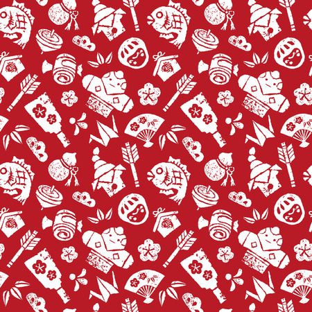 bream: Japanese new year seamless pattern on red background Illustration