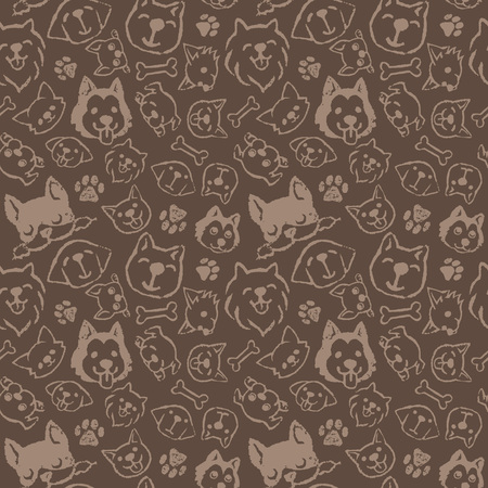 golden retriever puppy: Dog pattern design with different types of dogs Illustration