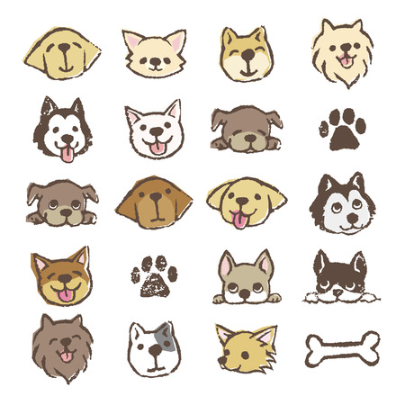 Different types of dogs icon set, color on white background Ilustração