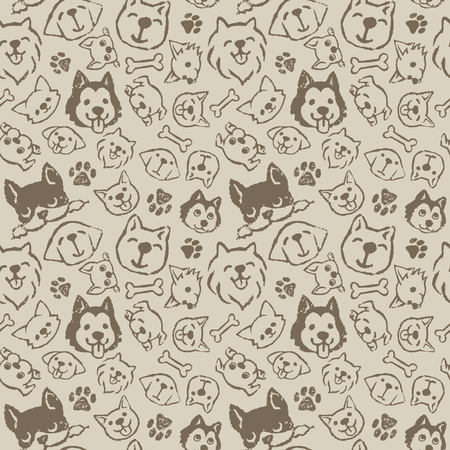 Dog pattern design with different types of dogs Stock Illustratie